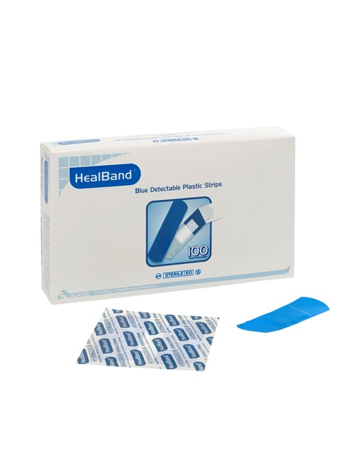 Healband® Strips Detect Plastic Blue, 72x25mm, 100's